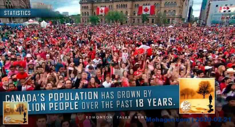 """نمو السكان في كندا يقترب من """"الصفر"""" بدون الهجرة"""