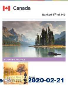 كندا تحصل على المرتبة الأولى في العالم لحرية الحياة الشخصية والمرتبة الثامنة في الرخاء والإزدهار العالمي