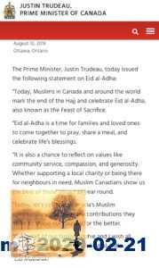 رئيس الوزراء جاستن ترودو يهنئ المسلمين بكندا بعيد الأضحى المبارك