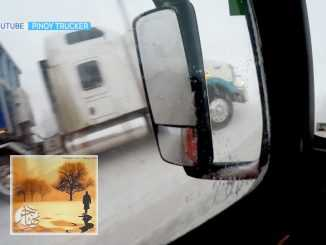 الكاميرات ترصد لحظة انقلاب شاحنة على إحدى الطرق السريعة بسبب الثلوج   مهاجر